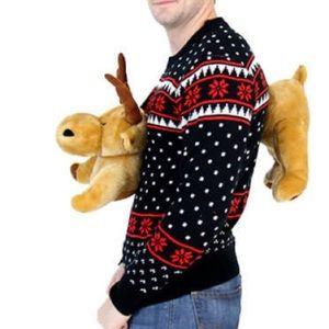 NWT- Medium Unisex Ugly Christmas sweater-3D Moose